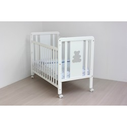 White crib structure Gray Bear