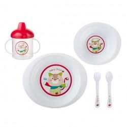 5-piece dinnerware Jungle Pocket Red SARO