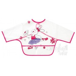 Bib with sleeves and pink bag