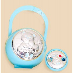 Carrying Case pacifiers and blue silver clip