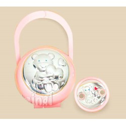 Carrying case and pink pacifiers silver clip